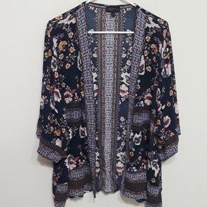 Boho navy floral kimono Size L